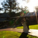 outdoor wedding ceremony - backlit