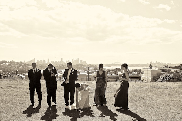 Sepia photo of the wedding party